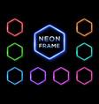 hexagon neon signs set on black background vector image