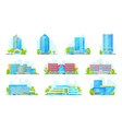 hotels and business center buildings icons vector image vector image