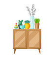 interior home decor cupboard with vases and vector image vector image