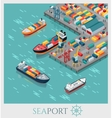 Isometric Commercial Sea Port vector image