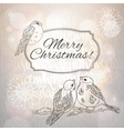 Merry Christmas greeting card with bullfinches and vector image
