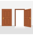 Open and closed door house front vector image