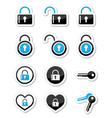 Padlock key account icons set vector image vector image