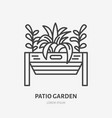 patio garden flat line icon plants growing in vector image