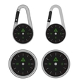 Pocket travel compass on carabiner vector image vector image