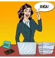 Pop Art Busy Business Woman Had an Idea vector image