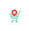 red geotag icon with green shopping cart vector image