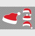 santa claus hat flat set realistic santa claus vector image vector image