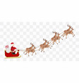 santa claus with a reindeer flying vector image vector image