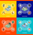 school education banner set concept 3d isometric vector image vector image