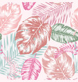 seamless background with tropic leaves vector image vector image
