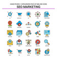 seo marketing flat line icon set - business vector image