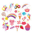 set cute unicorns star vector image