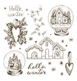 set of christmas winter elements hand drawn vector image