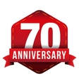 Seventy year anniversary badge with red ribbon vector image