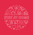 stay at home concept round white outline vector image