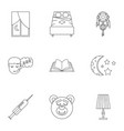 time to sleep icon set outline style vector image vector image