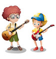 Two boys playing guitar vector image vector image