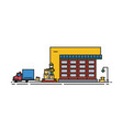 warehouse with roller shutter and worker in hard vector image vector image