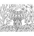 Zentangle stylized elephant in fantasy garden vector image vector image