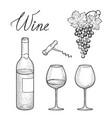 wine set wine glass bottle grape lettering vector image
