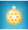 Yellow Ball with Snowflake vector image