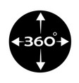 angle 360 degree icon on white background 360 vector image vector image