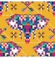 Animal head elephant triangular pixel icon vector image vector image