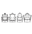 baroque armchair set french luxury rich vector image vector image