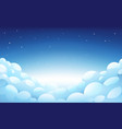 blue night sky with white fluffy clouds and stars vector image
