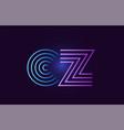 blue pink cz c z gradient alphabet letter vector image
