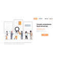 business couple holding magnifying zoom cv resume vector image vector image