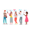chat internet communication set cartoon young vector image