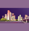 city street buildings skyline view vector image vector image