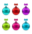 Collection Christmas Colorful Glassy Balls with vector image vector image