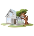 Crack in brick wall of house Tree fell on house vector image vector image