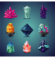 crystal isolated icons set magic stones vector image vector image
