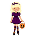 Cute colorful halloween baby kit the girl in the vector image