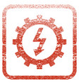 electric energy cog wheel framed textured icon vector image