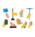 flat set of cleaning supplies human hands vector image