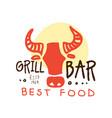 grill bar best food logo estd 1969 template hand vector image vector image