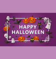 happy halloween banner design with paper cut vector image