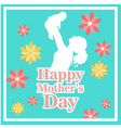 happy mothers day mom hold son flower green backgr vector image vector image