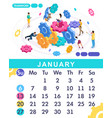isometric calendar of 2019 teamwork concept vector image vector image