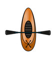 kayak boat with rowings vector image vector image