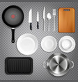 kitchen utensils realistic transparent vector image vector image