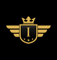 letter i shield wing vector image vector image