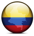 Map on flag button of Republic of Colombia vector image