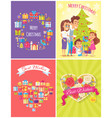 merry christmas banners set vector image