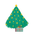 merry christmas decorative tree stars bright gift vector image vector image